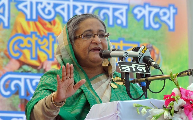 Prime Minister Sheikh Hasina addressing Chittagong rally