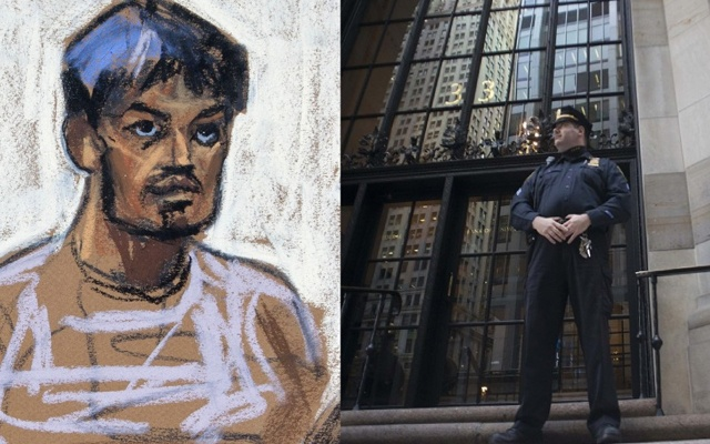 Court drawing of alleged New York bomb plotter Kazi Mohammad Rezwanul Ahsan Nafis and his target, the Federal Reserve Bank in New York. Credit: Reuters