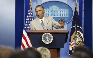 U.S. President Barack Obama addresses reporters in the White House Press Briefing Room ahead of a meeting with his national security council in Washington, August 28, 2014. Reuters