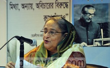 Hasina speaking at a media briefing at the Bangladesh's Permanent Mission to the UN in New York. Photo: bdnews24.com