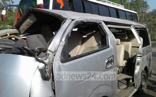 The car which met with an accident at Cox's Bazar's Chakoria leaving four of its passengers killed on the spot.