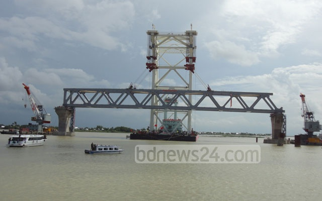 Padma Bridge: Only one of the 41 spans has been installed.