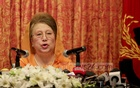 BNP Chairperson Khaleda Zia speaking at a news conference on her plans to constitute the next Election Commission at a hotel in Dhaka on Friday. Photo: asaduzzaman pramanik