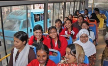 On Sunday, students avail of the newly introduced BRTC school bus service from Azimpur to Pallabi. Photo: bdnews24.com/ Dhaka, January 16, 2011