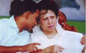 Tarique Rahman with Khaleda Zia. File Photo