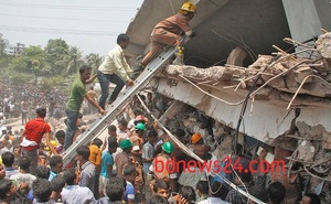More than 1,100 people died when Rana Plaza complex, which housed several RMG factories, collapsed in April, 2013. Photo: bdnews24.com