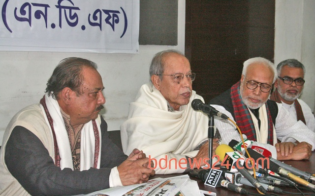 AQM Badruddoza Chowdhury (centre) and Abdul Kader Siddiqui (second from right) seen with ASM Abdur Rab at a programme in this file photo. Both attended the Thursday evening event at Rab's home.