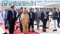 The Myanmar government rolls out red carpet to receive Prime Minister Sheikh Hasina at Naypyidaw International Airport on Monday. Photo: bdnews24.com