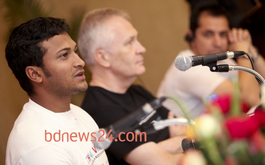 Cricketer Shakib Al Hasan speaks at a press conference on a HIV campaign titled 'Think Wise' at Hotel Pan Pacific Sonargaon in Dhaka on Tuesday. Photo: asaduzzaman pramanik/ bdnews24.com