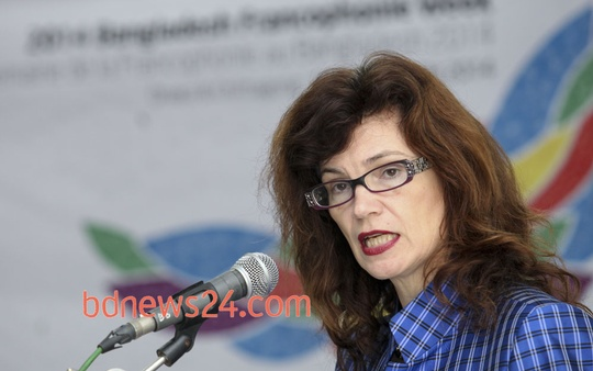 Canadian High Commissioner Heather Cruden speaks at a press briefing on the upcoming '2014 Bangladesh Francophonie Week' at Dhaka's Alliance Française on Tuesday. Photo: asaduzzaman pramanik/ bdnews24.com