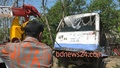 Four passengers were killed and six others injured when a train crashed into this minibus in Chittagong's Chandgoan on Tuesday. Photo: suman babu/ bdnews24.com