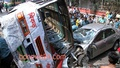 A bus rams into a private car in Ramna injuring several passengers on Friday. Photo: tanvir ahammed/ bdnews24.com