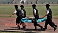 RAB's medical unit performing a security drill at the Army Stadium in Dhaka on Saturday ahead of the T20 World Cup. Photo: tanvir ahammed/ bdnews24.com