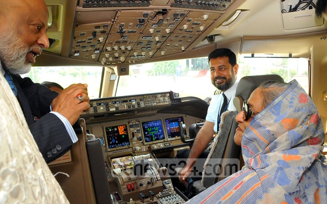 Prime Minister Sheikh Hasina at the cockpit of 'Ranga Prabhat' when it was inaugurated in 2014.