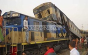 Two trains collide at Sirajganj's Ullapara on Sunday morning. Photo: bdnews24.com