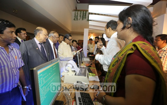 Tourism Minister Rashed Khan Menon at the 'Dhaka Travel Mart 2014' at Sonargaon Hotel in Dhaka on Wednesday. Photo: mustafiz mamun/ bdnews24.com