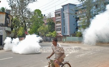 Suspected activists of the Jamaat-e-Islami and its student front Islami Chhatra Shibir hurl improvised bombs at police from a procession in Rajshahi metropolitan on Wednesday. Photo: bdnews24.com