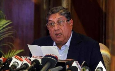 BCCI president N. Srinivasan speaks to the media during a news conference in Kolkata May 26, 2013. Credit: Reuters