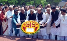 Awami League leaders pay respect at the Mujibnagar Mausoleum in Meherpur on the occasion of Mujibnagar Day. Photo: bdnews24.com