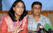 Environmental lawyer Syeda Rizwana Hasan and her husband Abu Bakar Siddique brief reporters at their Central Road residence in Dhaka on Friday. Photo: bdnews24.com