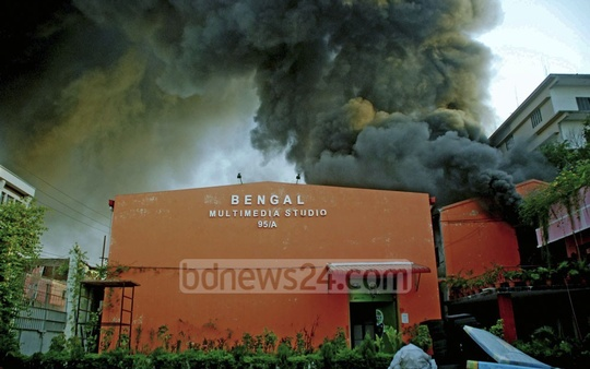 A fire raging through a warehouse of the Bengal Group at Dhaka's Tejgaon on Wednesday. Photo: bdnews24.com