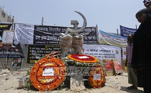 File photo shows a memorial at the site of Rana Plaza, which collapsed in 2013, killing over a thousand garment workers