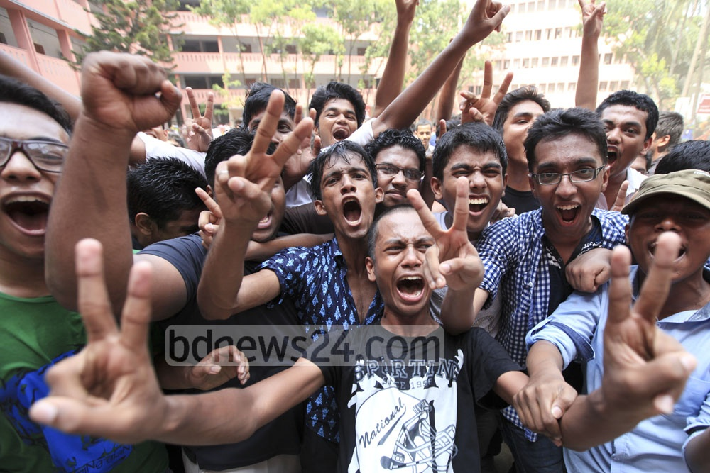 Students cheer after getting the results of the Secondary School Certificate (SSC) and equivalent examinations on Saturday. Photo: asaduzzaman pramanik/ bdnews24.com