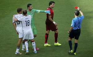 Portugal's Pepe headbutts Germany's Thomas Mueller (L), receiving him a red card, during their 2014 World Cup Group G football match at the Fonte Nova arena in Salvador, June 16, 2014. Credit: Reuters