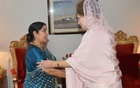 Indian Minister Shushma Swaraj and BNP Chairperson Khaleda Zia during a meeting in 2014 in Dhaka. Photo credit: Khaleda Zia's personal photographer Nuruddin Ahmed