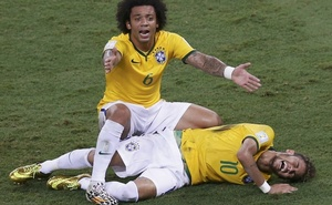 Brazil's Marcelo gestures over injured Neymar, who was fouled by Colombia's Camilo Zuniga (not pictured) during their quarter-finals match at the Arena Castelao in Fortaleza. Reuters