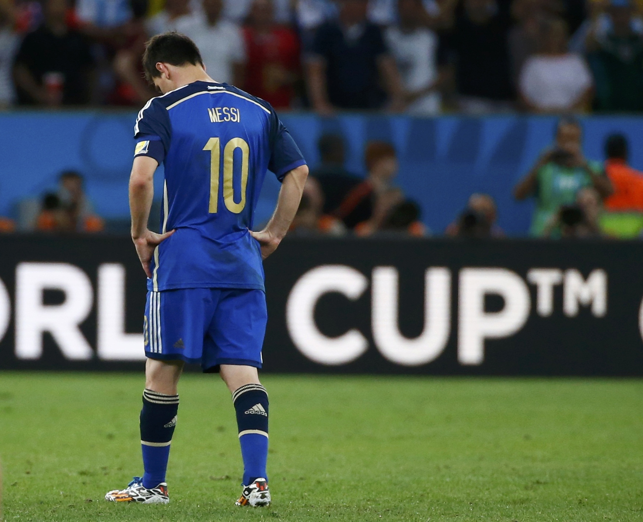 Argentina's Lionel Messi reacts after the whistle at extra time in the 2014 World Cup final against Germany. Reuters