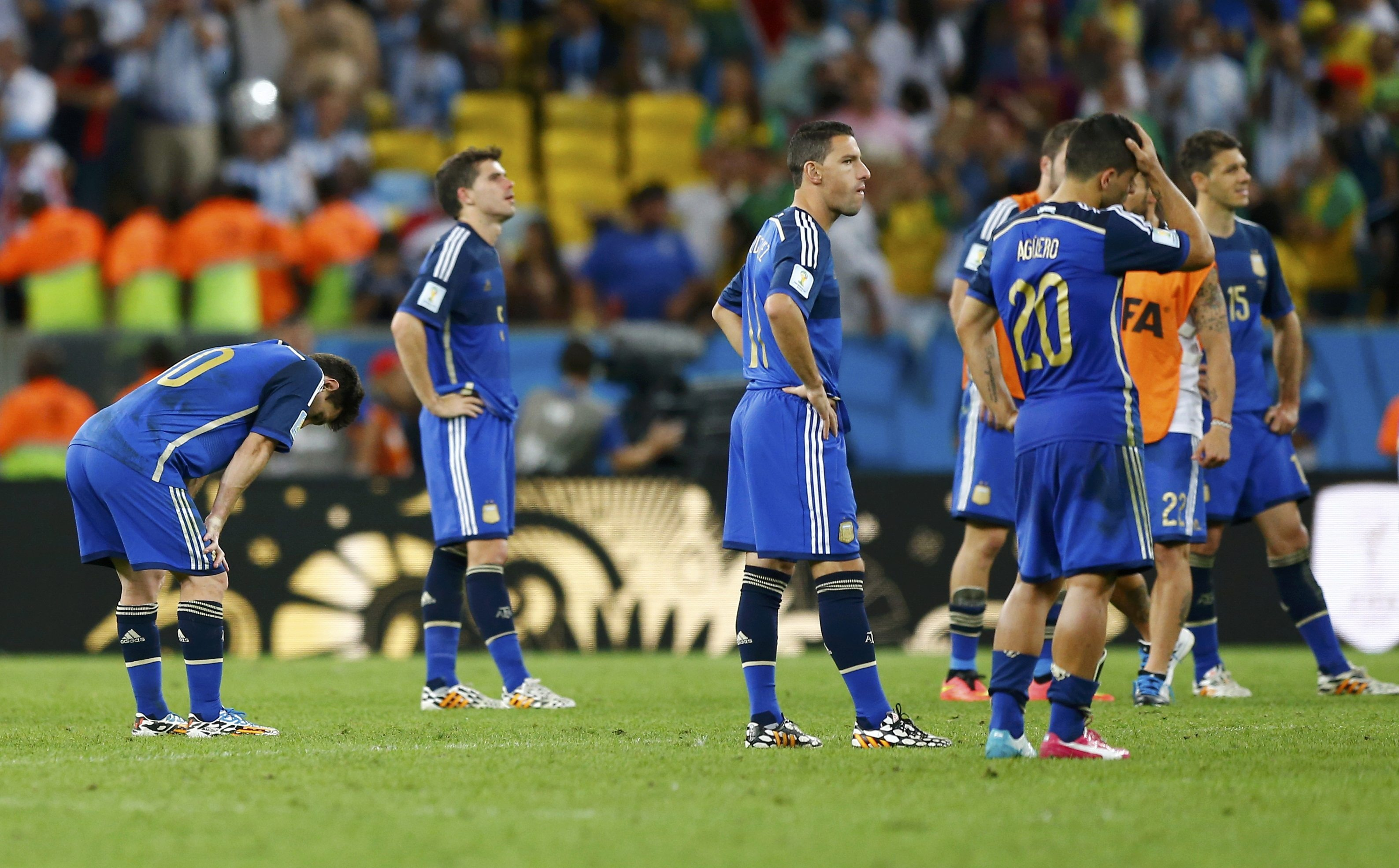 Argentina's players react after their loss to Germany in their 2014 World Cup final. Reuters