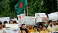 Online activists hold 'March for Gaza' at Shahbagh in Dhaka on Friday. Photo: tanvir ahammed/ bdnews24.com