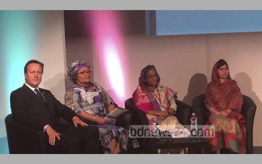 Prime Minister Sheikh Hasina sits with British Prime Minister David Cameron, Chantal Compaore, the First Lady of Burkina Faso, and Pakistani rights activist Malala Yousafzai at the 'Girl Summit 2014' in Walworth Academy in London on Monday. Photo: bdnews24.com