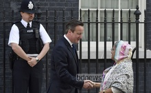 Britain's Prime Minister David Cameron greets Prime Minister Sheikh Hasina outside 10 Downing Street in central London. Pictures: Reuters