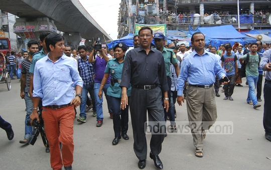Communications Minister Obaidul Quader visits Dhaka''s Gulistan area on Thursday. Photo: bdnews24.com