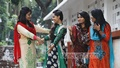 Girls celebrate Friendship day with their friends in Dhaka University on Sunday. Photo: nayan kumar/ bdnews24.com