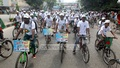 Social organisation, Free Birds' Club hold a bicycle rally in Dhaka on Tuesday marking the International Youth Day 2014. Photo: bdnews24.com