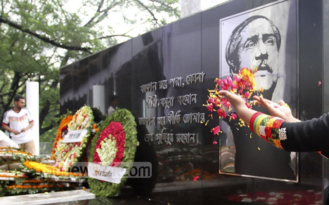 The mural of Bangabandhu in front of the museum is covered with flowers every year on Aug 15, the National Mourning Day. But the government scaled down the programmes commemorating the day this year due to the coronavirus epidemic.