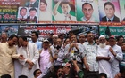 BNP acting secretary general Mirza Fakhrul Islam Alamgir addresses the gathering after a black flag procession at the party's Nayapaltan headquarters on Saturday afternoon. Photo: bdnews24.com