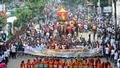 A colourful march taken out from Dhakeshwari National Temple in Dhaka on Janmashtami, the birth anniversary of Krishna, on Sunday. Photo: asif mahmud ove/ bdnews24.com