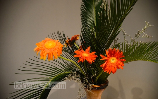 Bangladesh Ikebana Association (BIA) organises an Ikebana Festival, depicting Japanese art of flower arrangement, at Shilpakala Academy's National Art Gallery in Dhaka on Monday. Photo: asif mahmud ove/ bdnews24.com