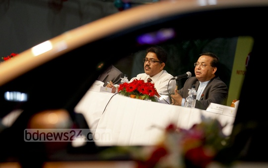 Nitol-Niloy Group Chairman Abdul Matlub Ahmad speaks at the launch of their new car 'Nano Twist' at Dhaka's Ruposhi Bangla Hotel on Wednesday. Photo: asaduzzaman pramanik/ bdnews24.com