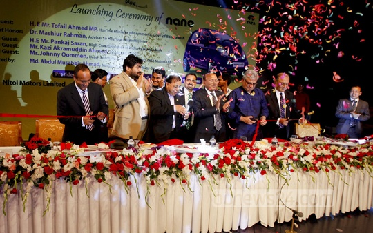 Commerce Minister Tofail Ahmed inaugurates Nitol-Niloy Group's new car 'Nano Twist' at Dhaka's Ruposhi Bangla Hotel on Wednesday. Photo: asaduzzaman pramanik/ bdnews24.com