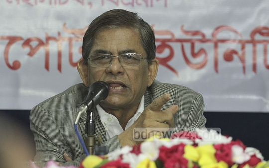 BNP acting Secretary General Mirza Fakhrul Islam Alamgir demands early elections during a 'Meet The Press' program at Dhaka Reporters Unity on Wednesday. Photo: nayan kumar/ bdnews24.com