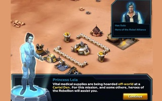 A screen shot from ''Star Wars: Commander,'' a free mobile app that lets players direct battles with franchise heroes Han Solo, Chewbacca and Princess Leia. Credit: Reuters