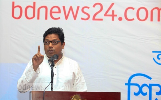 State Minister for ICT Junaid Ahmed Palak at the Hello child journalism festival at Cox's Bazar. Photo: mustafiz mamun/ bdnews24.com