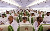 Pilgrims on board the first Hajj flight that left for Jeddah on Wednesday. Photo: asaduzzaman pramanik/ bdnews24.com