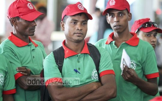 Bangladeshi workers selected by the government to work in Malaysia, waiting to board their flight at the Shahjalal International Airport on Wednesday. Photo: asaduzzaman pramanik/ bdnews24.com
