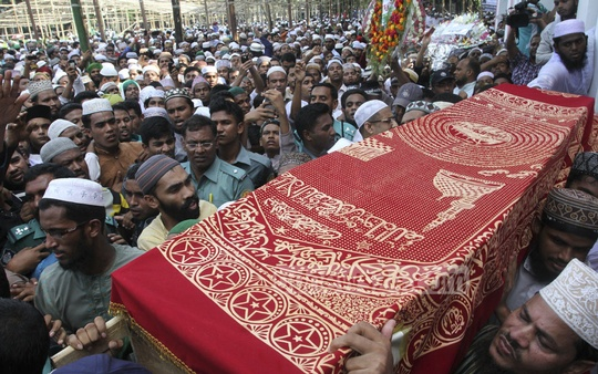 The Namaz-e-Janaza of Islamic Front leader and Islamic TV show host Maolana Nurul Islam Farooqi being held at the National Eidgah in Dhaka on Friday. Photo: nayan kumar/ bdnews24.com